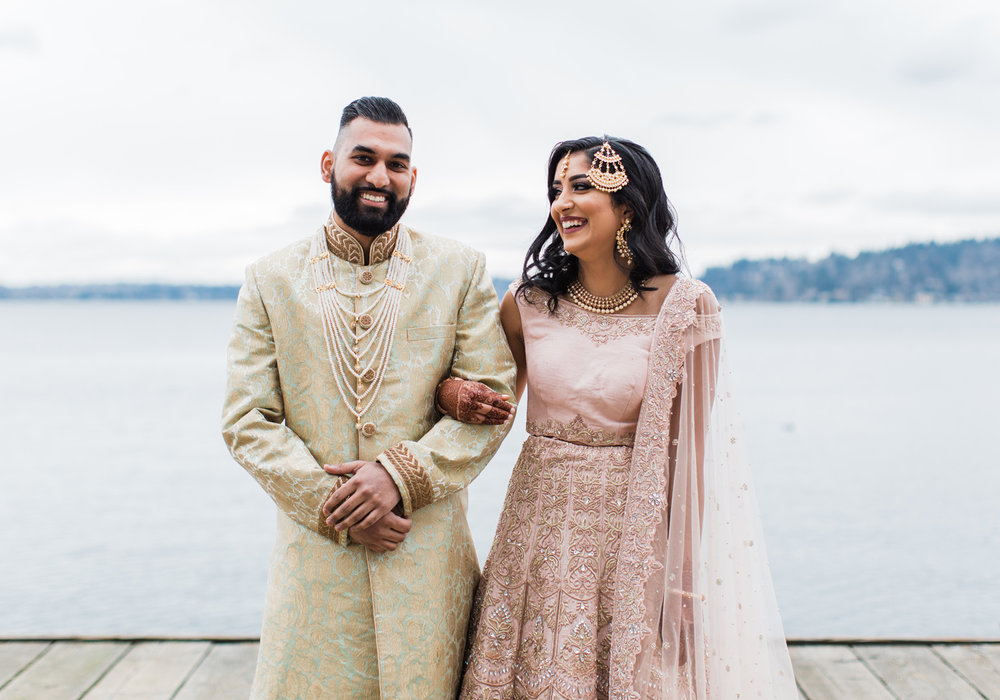 Alexandra Knight Photography Seattle Indian Wedding Photographer blush pink and gold bride and groom dress.jpg