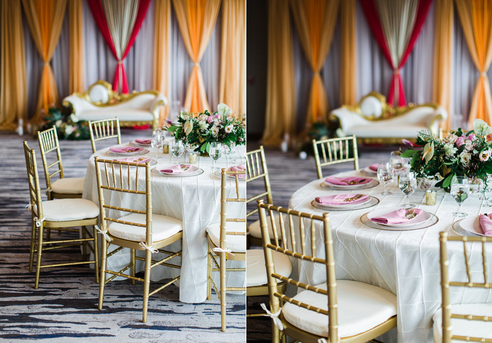 Alexandra Knight Photography Seattle Indian Wedding Photography orange and red mandap with tropical pink table decor.jpg