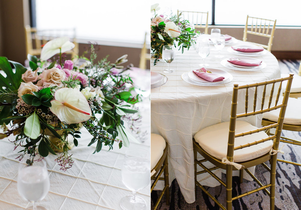Alexandra Knight Photography Seattle Wedding Photographer tropical centerpiece pink and gold reception table decor.jpg