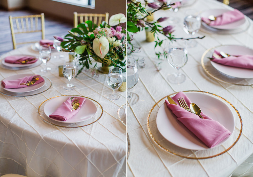 Alexandra Knight Photography Seattle Wedding Photographer Tropical pink and gold reception table decoration.jpg