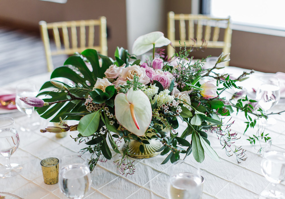 Alexandra Knight Photography Seattle Wedding Photographer tropical and blush pink reception table decoration.jpg