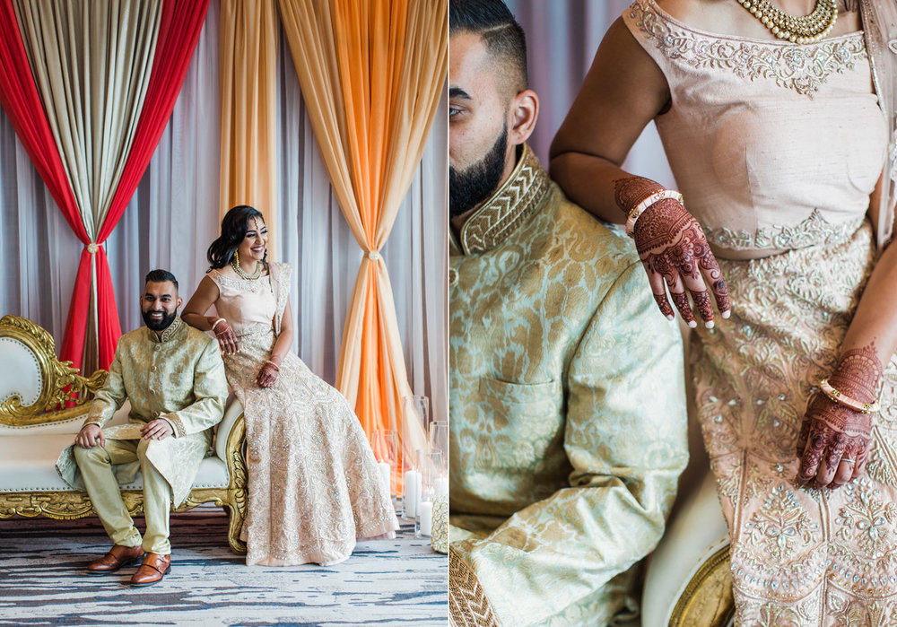 Alexandra Knight Photography Seattle Indian Wedding Photographer bride and groom in gold and blush wedding clothes with orange mandap.jpg