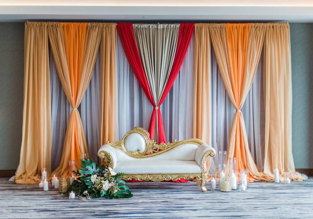 Alexandra Knight Photography Seattle Indian Wedding Photographer orange and red wedding mandap drape ceremony installation.jpg