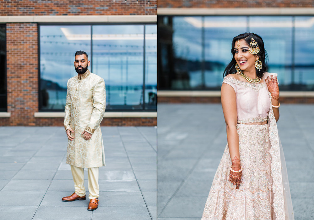Alexandra Knight Photography Seattle Indian Wedding Photographer bride and groom traditional wedding attire blush pink and gold.jpg
