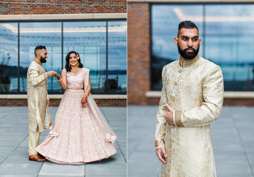 Alexandra Knight Photography Seattle Indian Wedding Photographer bride and groom in gold and blush wedding clothes lehenga.jpg