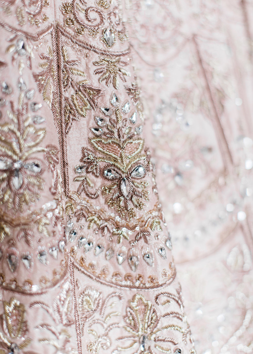 Alexandra Knight Photography Seattle Indian Wedding Photographer Lehenga Detail Blush and Gold Sari Dress Close up.jpg