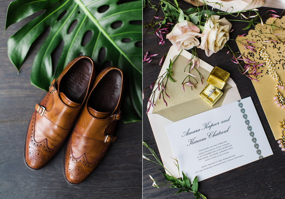 Alexandra Knight Photography Seattle Wedding Photographer gold glitter wedding invitation with grooms shoes.jpg