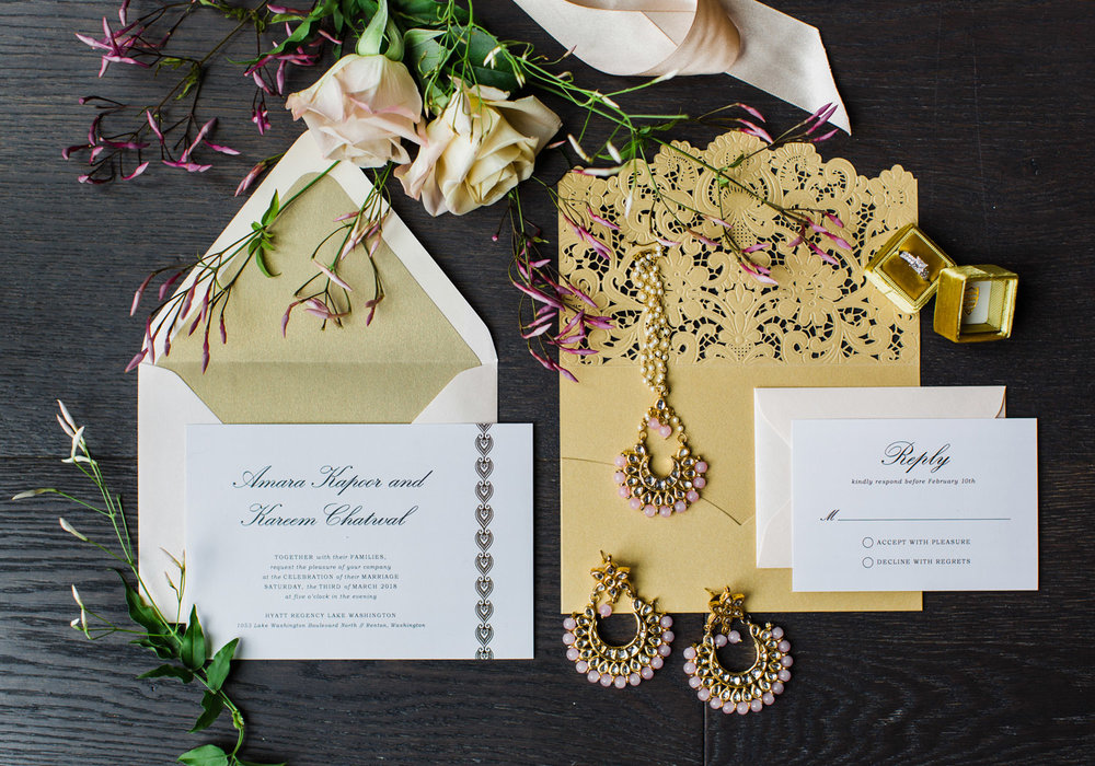 Alexandra Knight Photography Seattle Wedding Photography gold glitter custom wedding invitation.jpg