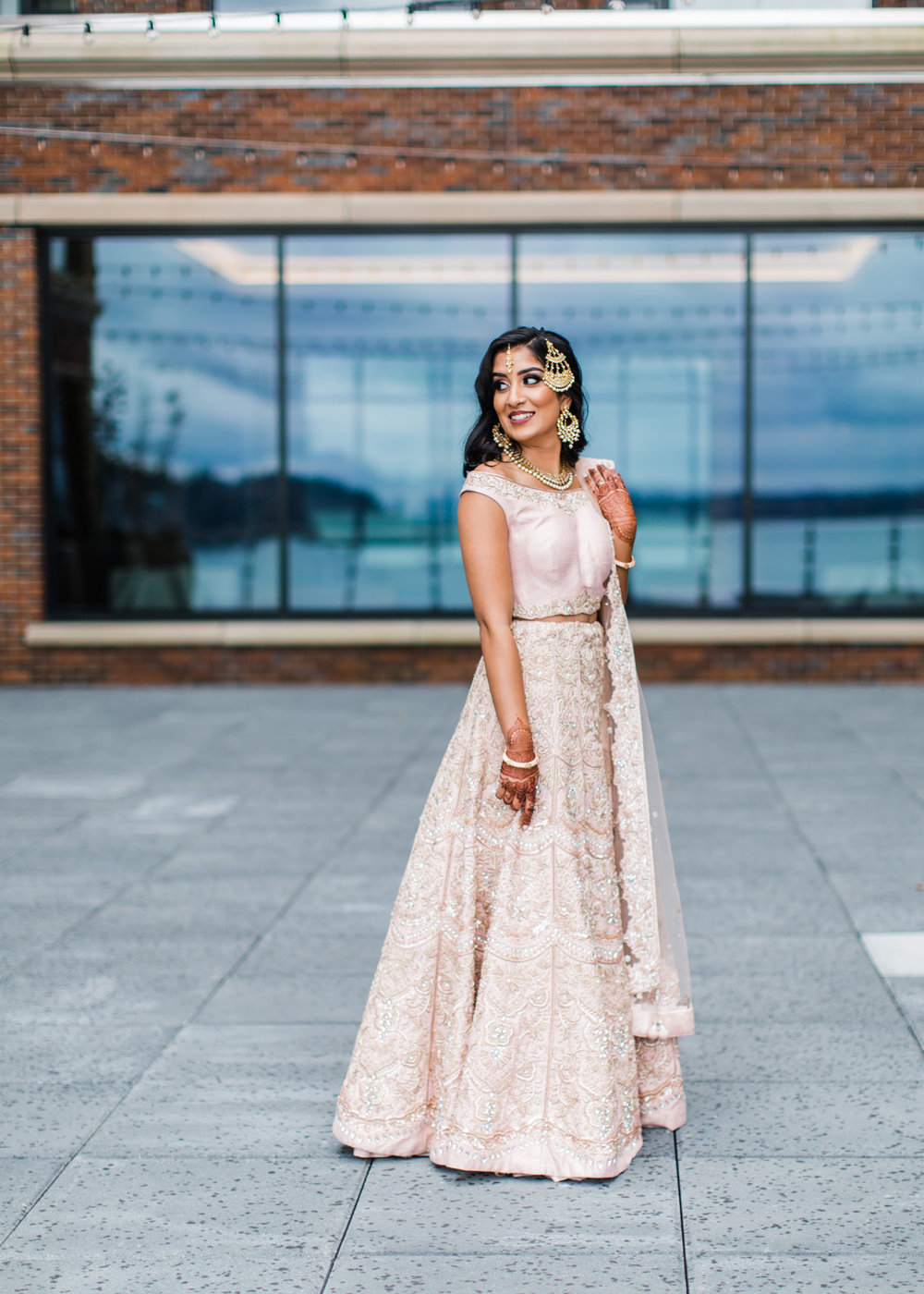 Alexandra Knight Photography Seattle Indian Wedding Photographer Blush and Gold Lehenga.jpg