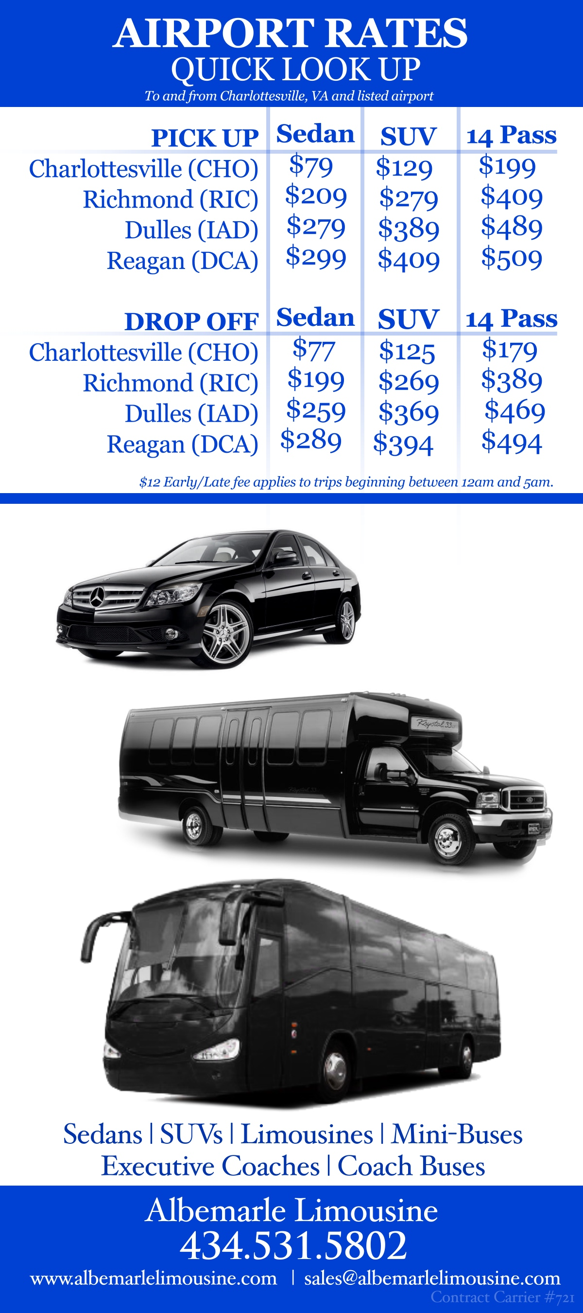 Albemarle Limousine Airport Quick Rate Look Up 11.11.14