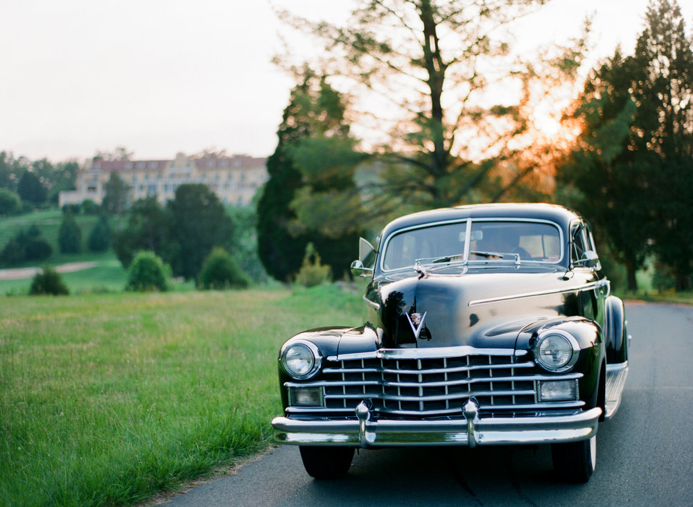 Vintage Wedding Car Get Away Keswick Hall Charlottesville VA