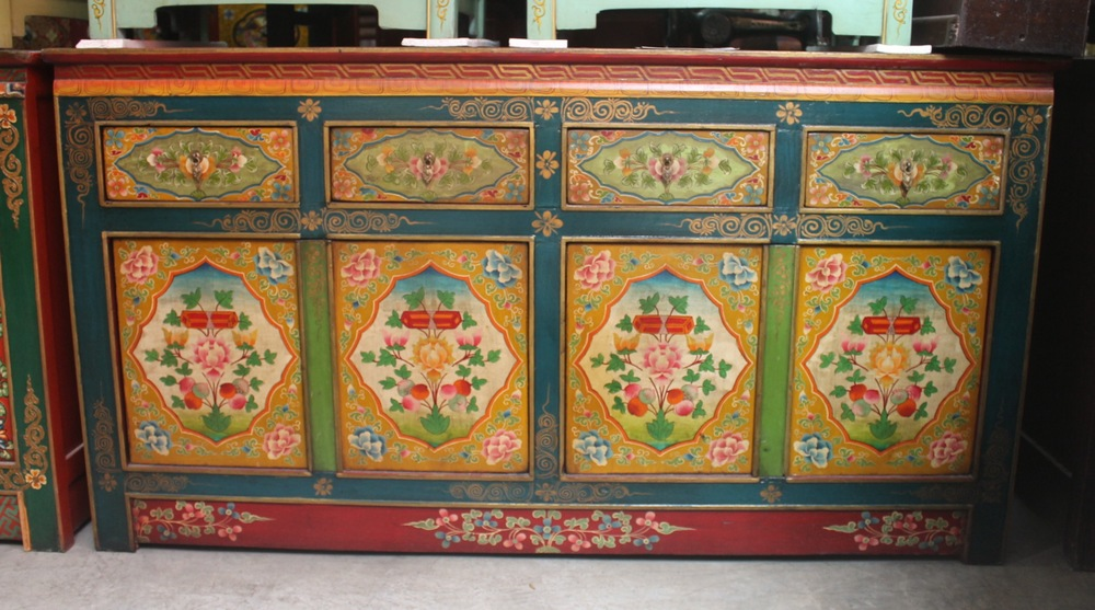 Long Tibetan-style painted sideboard. Now on sale at S$1,000.00. SOLD.