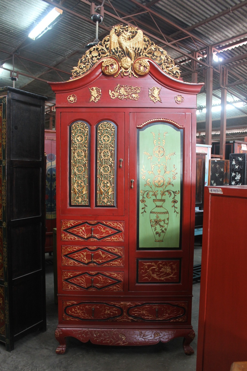 Red & gold carved Fujian wardrobe. Now on sale at S$1,200.00. SOLD