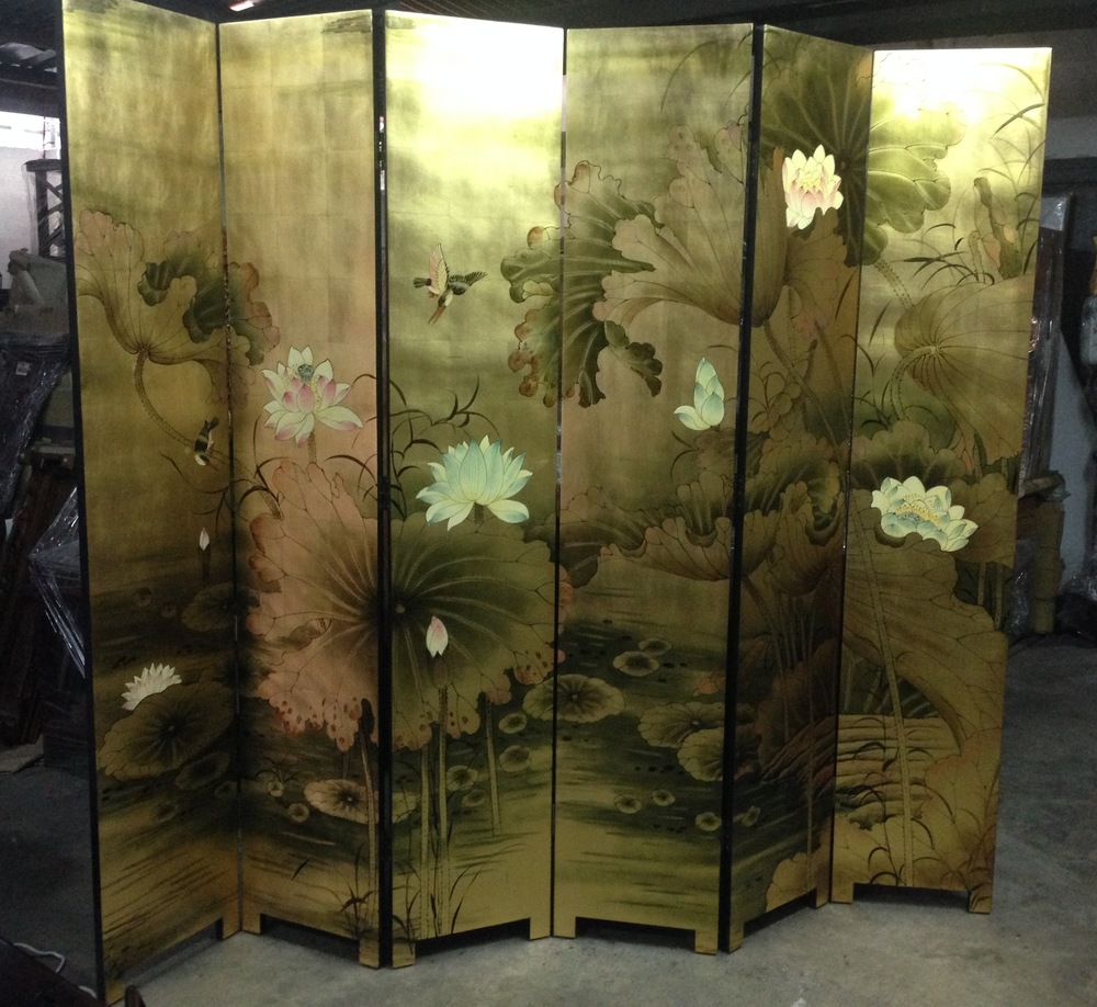 6-panel screen in gold, with painting of lotus 2.JPG