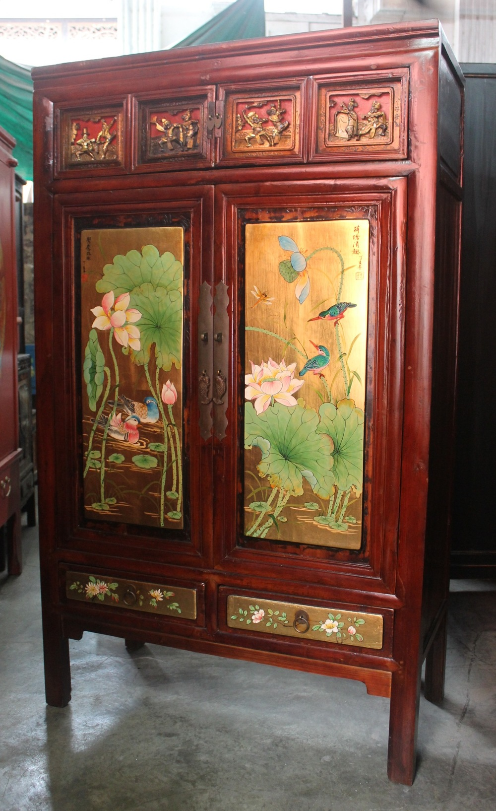 Cabinet with carvings and painting from Wenzhou. Now on sale at S$800.00. SOLD