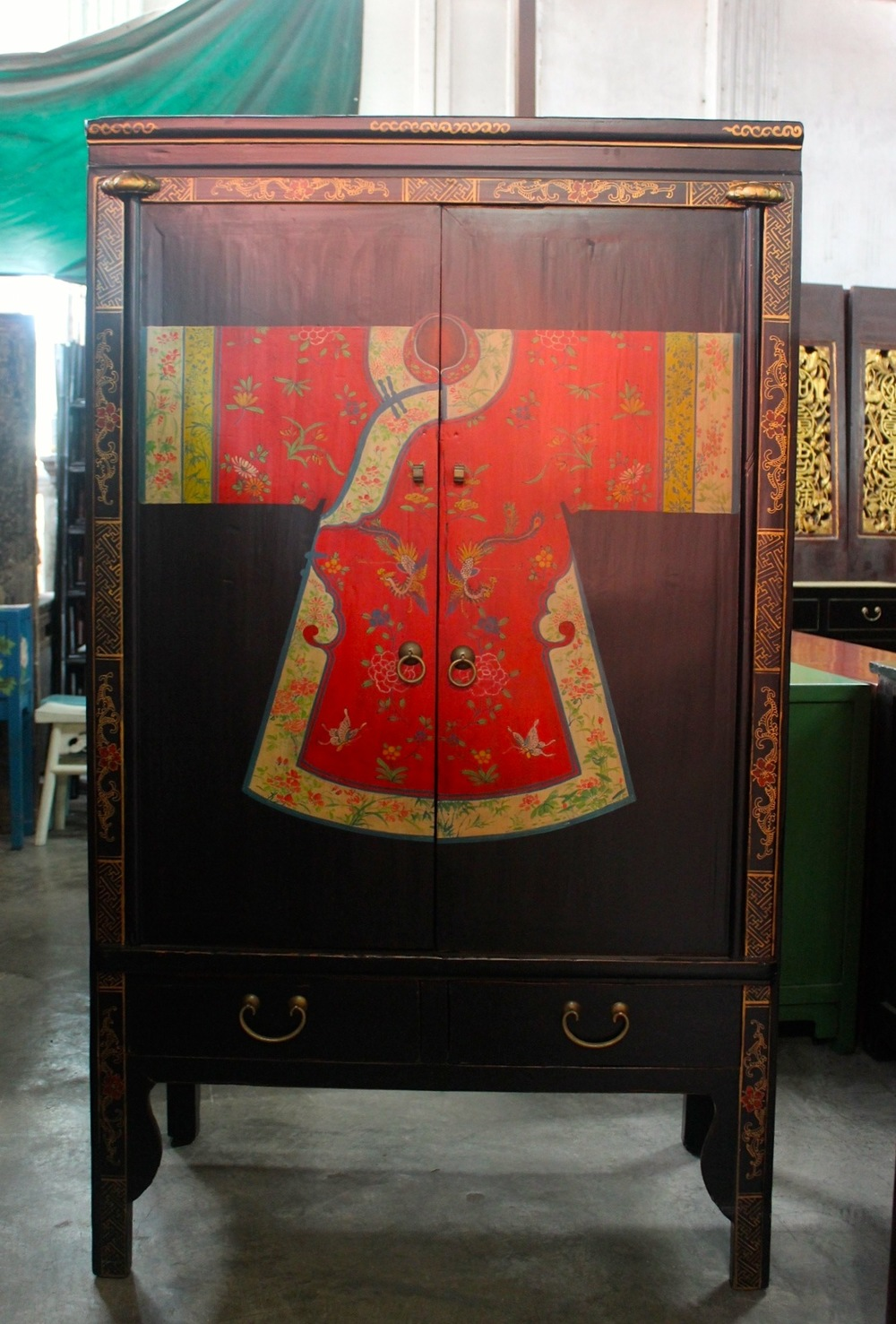 Wooden black cabinet with painting of a robe. Now on sale at S$800.00. SOLD