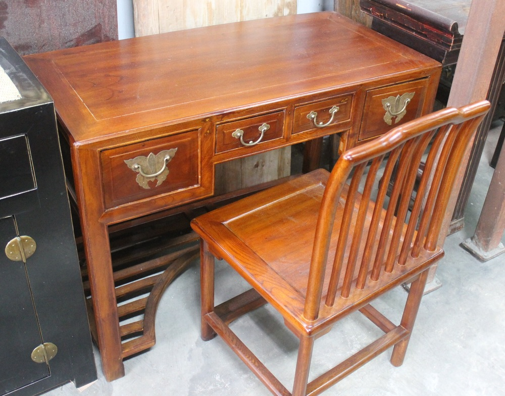 A set of vintage desk (with matching new chair) made of Jumu (Southern Elm). L112 x W56 x H81cm. Now on sale at S$850.00.