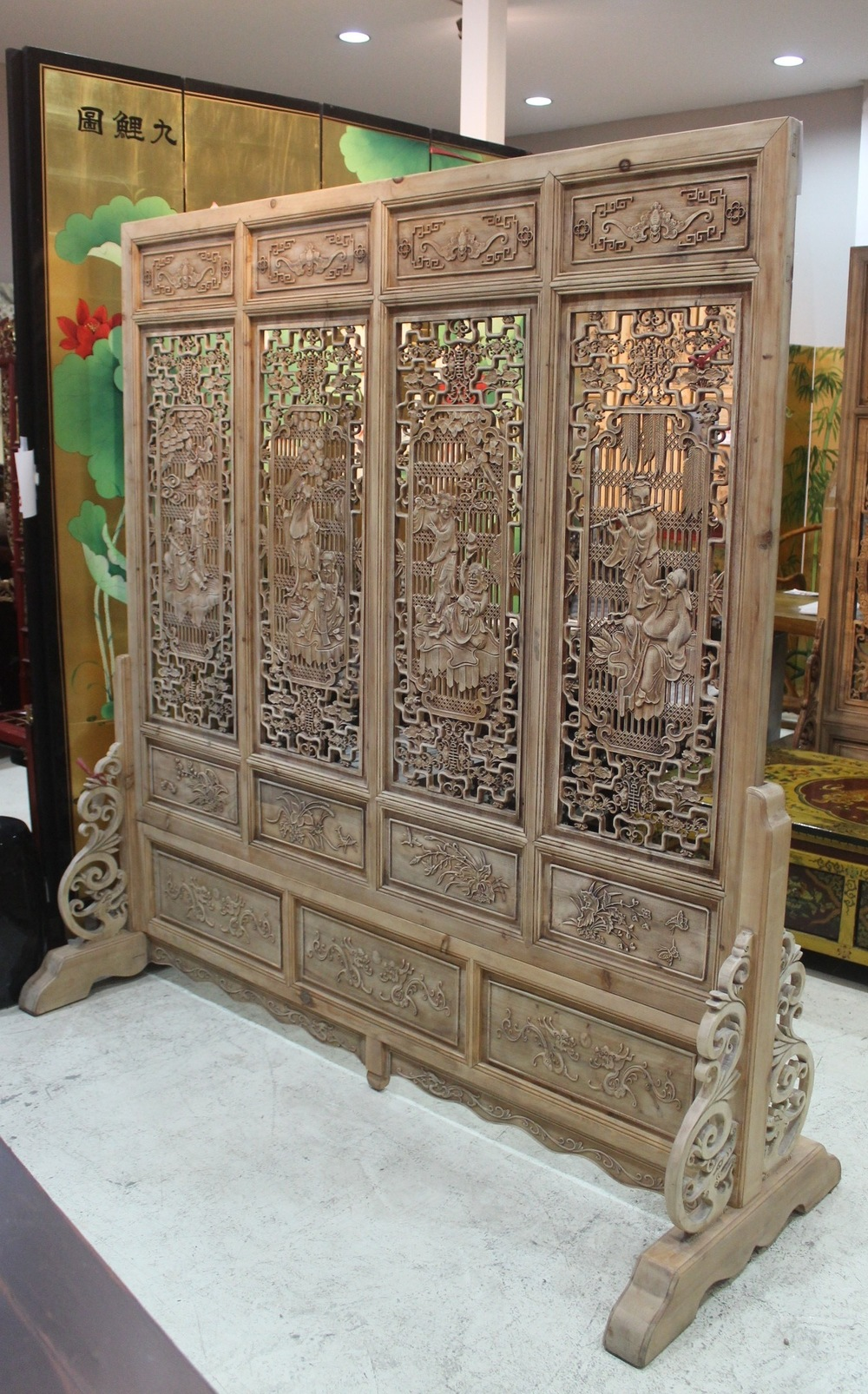 Screen with carvings of the 8 immortals, carved on both sides. L168 x H180cm. Now on sale at S$2,000.00. Reproduction.