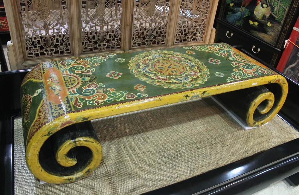 A beautiful low scroll table hand-painted in Tibetan style. L160 x W54 x H41cm, reproduction. Was S$1,400, now on sale at S$900.00! SOLD.