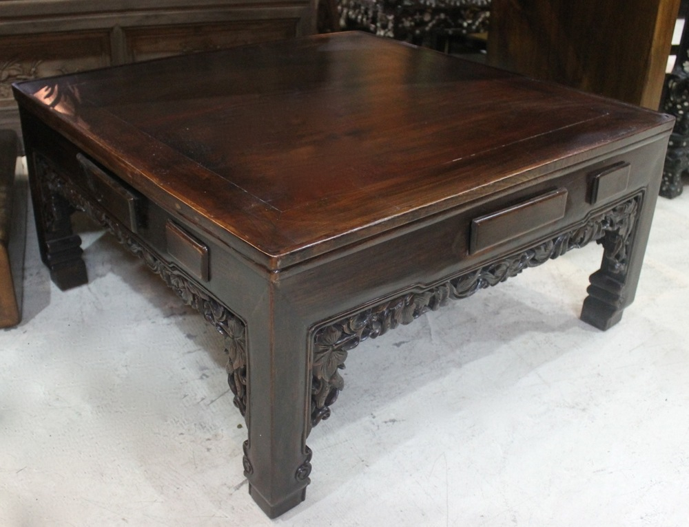 A dark coffee table originally from Zhejiang province. L84 x W84 x H42cm. Was S$1,400, now on sale at 900.00! SOLD.