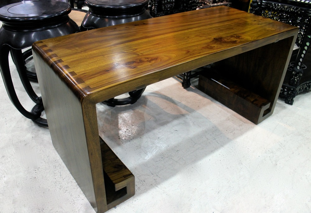 A solid Camphor wood table, L158 x W67 x H76cm. All sides are made of solid 5cm thick planks. Ideal as a display console or even as a writing desk. Was S$2,100, now on sale at S$1,200.00.