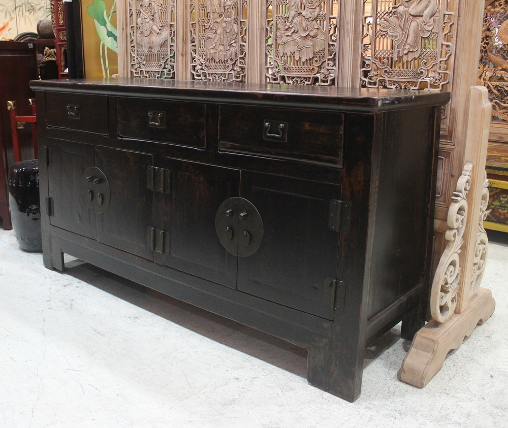 Dark Elm wood sideboard from Tianjin, approx. 80-100 years old. L155 x D50 x H83cm. Was S$2,500, now on sale at S$1,200.00 only! SOLD