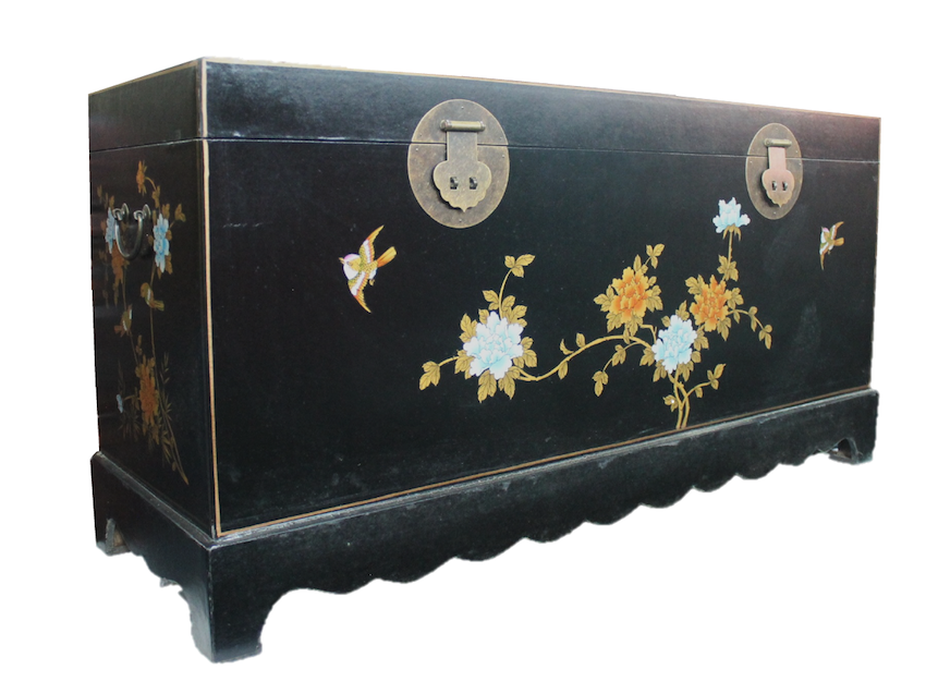 Long black painted chest made of compressed wood. L110 x W36 x H55cm. S$300.00! SOLD
