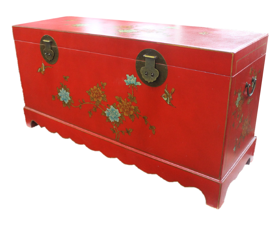Long red painted chest made of compressed wood. L110 x W36 x H55cm. S$300.00! SOLD