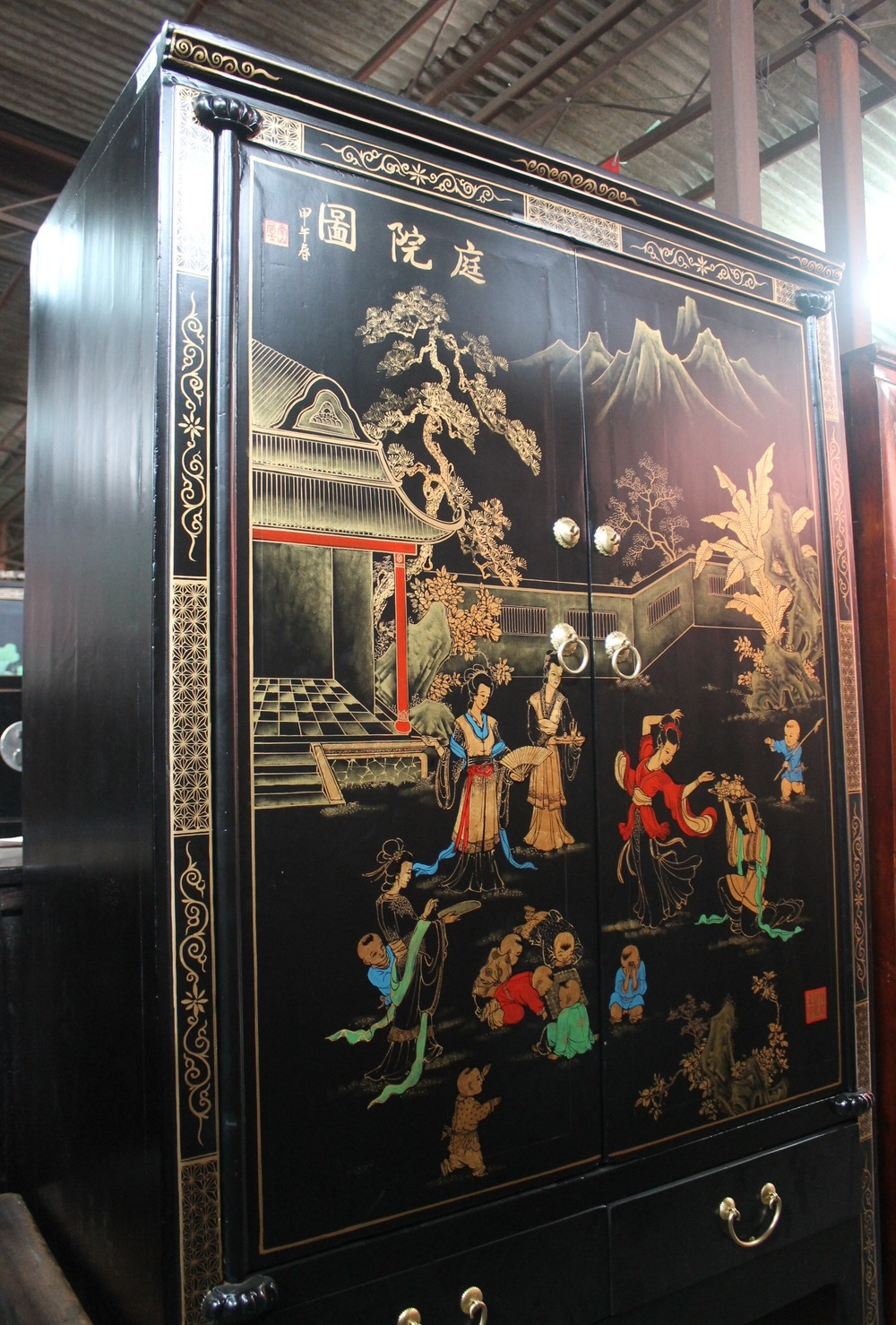 Olf Elm & Pine cabinet with painting of ladies & children in courtyard. Was S$1,800, now S$700.00. SOLD.