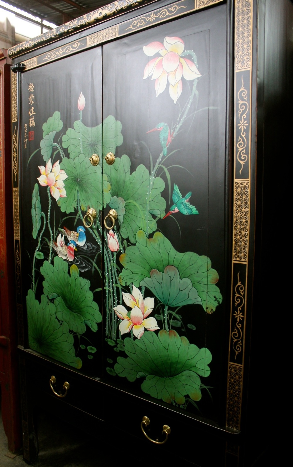 Old Elm & Pine cabinet with painting of mandarin ducks & lotus. Was S$1,800, now S$700.00. SOLD.