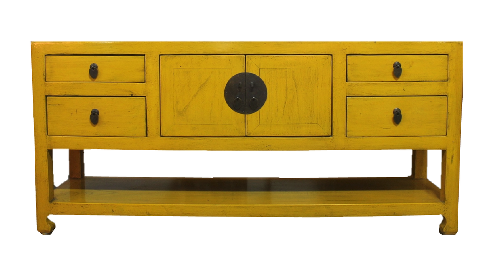 Low yellow sideboard. L127 x D33 x H57cm. Now at S$450.00.
