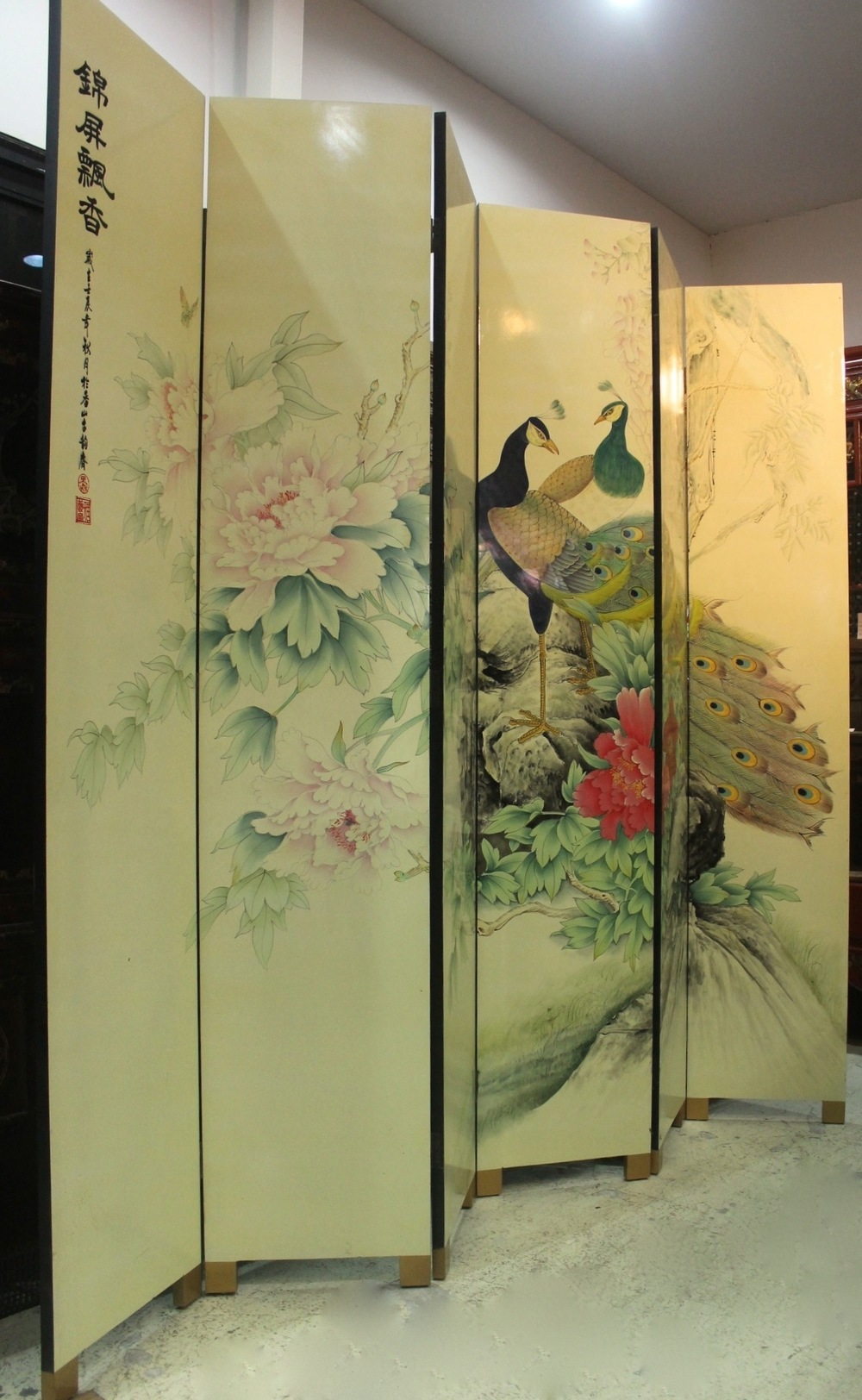 "6-panel ""Peacock"" screen. Height 213cm. Was S$1,200, now at S$600.00!"