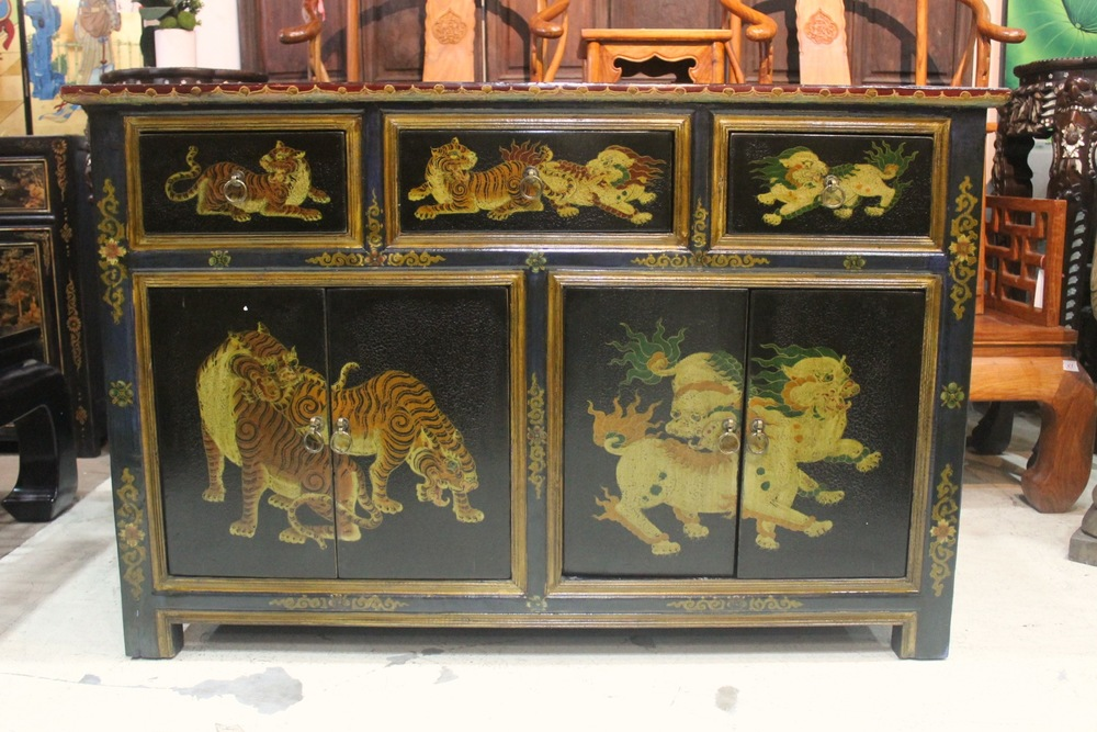Tibetan-style sideboard with painting of tigers & snow lions. L140 x D42 x H90cm. Was S$1,200, now at S$700.00! SOLD