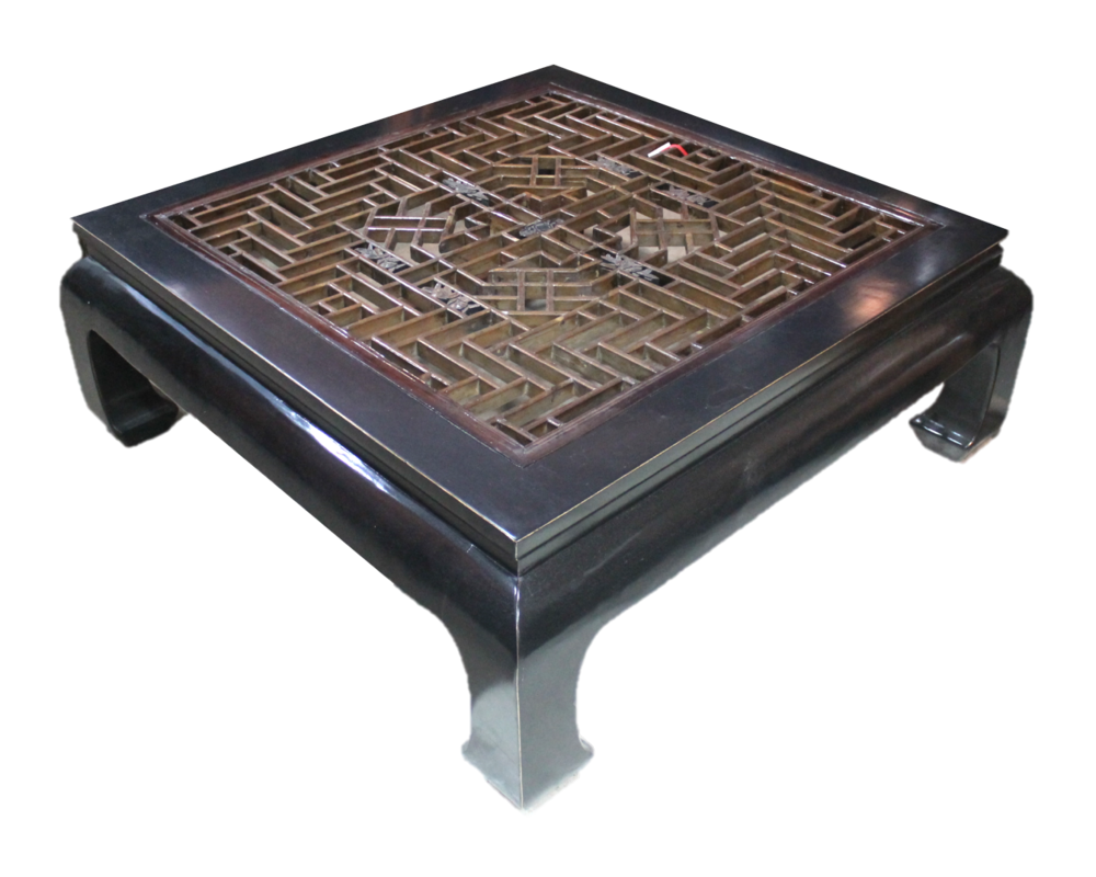 Square coffee table with old window carving. L121 x W121 x H46cm. Was S$1500, now S$800! SOLD