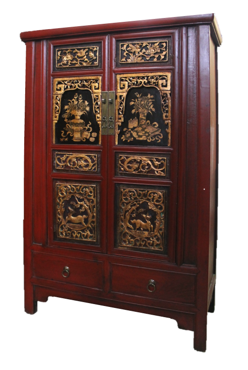 Red & gold carved medium tapered cabinet. Was S$900, now S$650! SOLD
