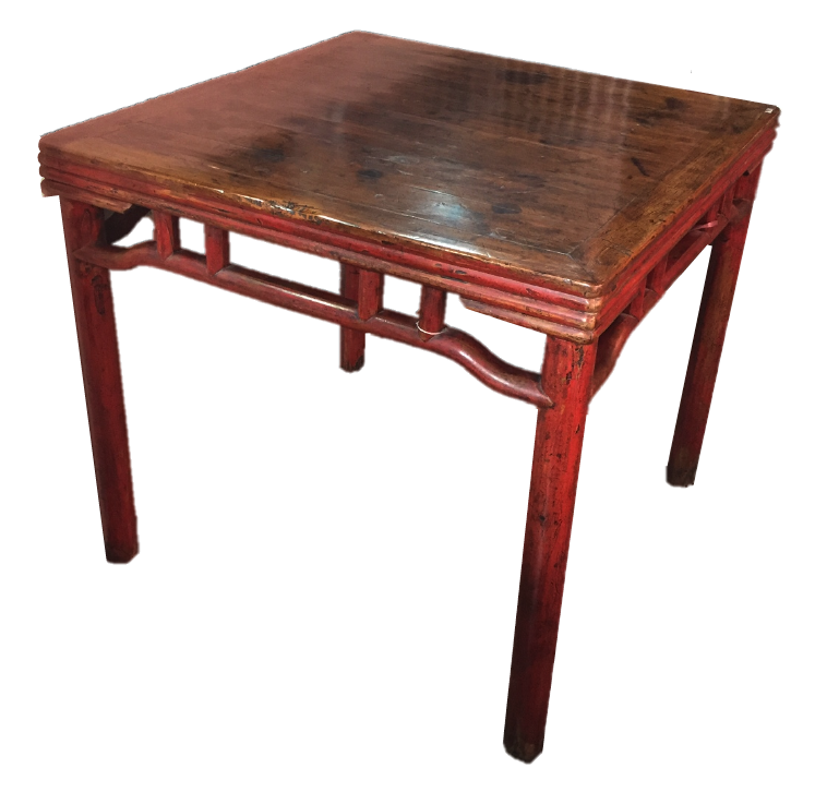 Red square table from Zhejiang. L85 x W85 x H78cm. Was S$1,400, now S$500! SOLD.