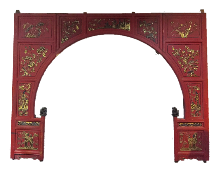 Red & gold bedfront carving from Zhejiang. Was S$1,300, now S$600!