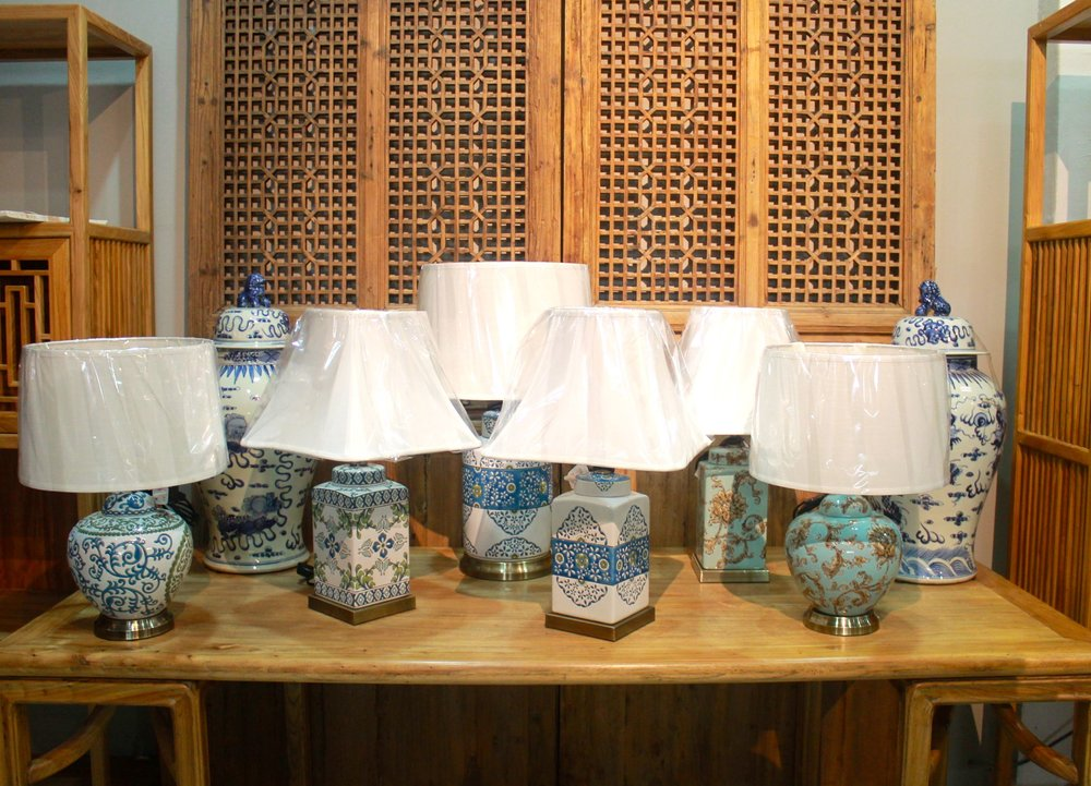 A wide assortment of ceramic table lamps in store now