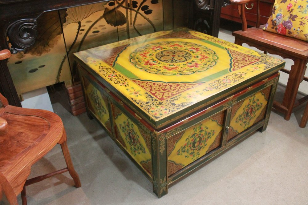 Tibetan-style square coffee table with storage