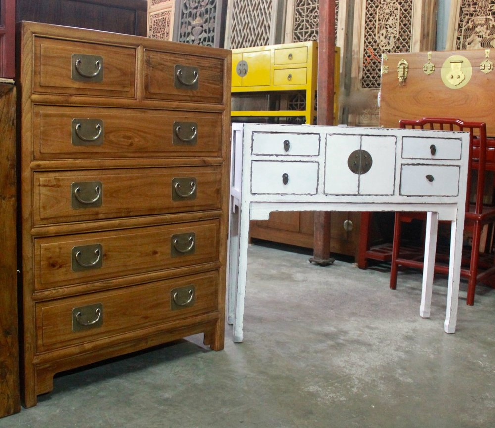 Camphor wood chest of drawers; slim white table (also available in mustard, black & red)