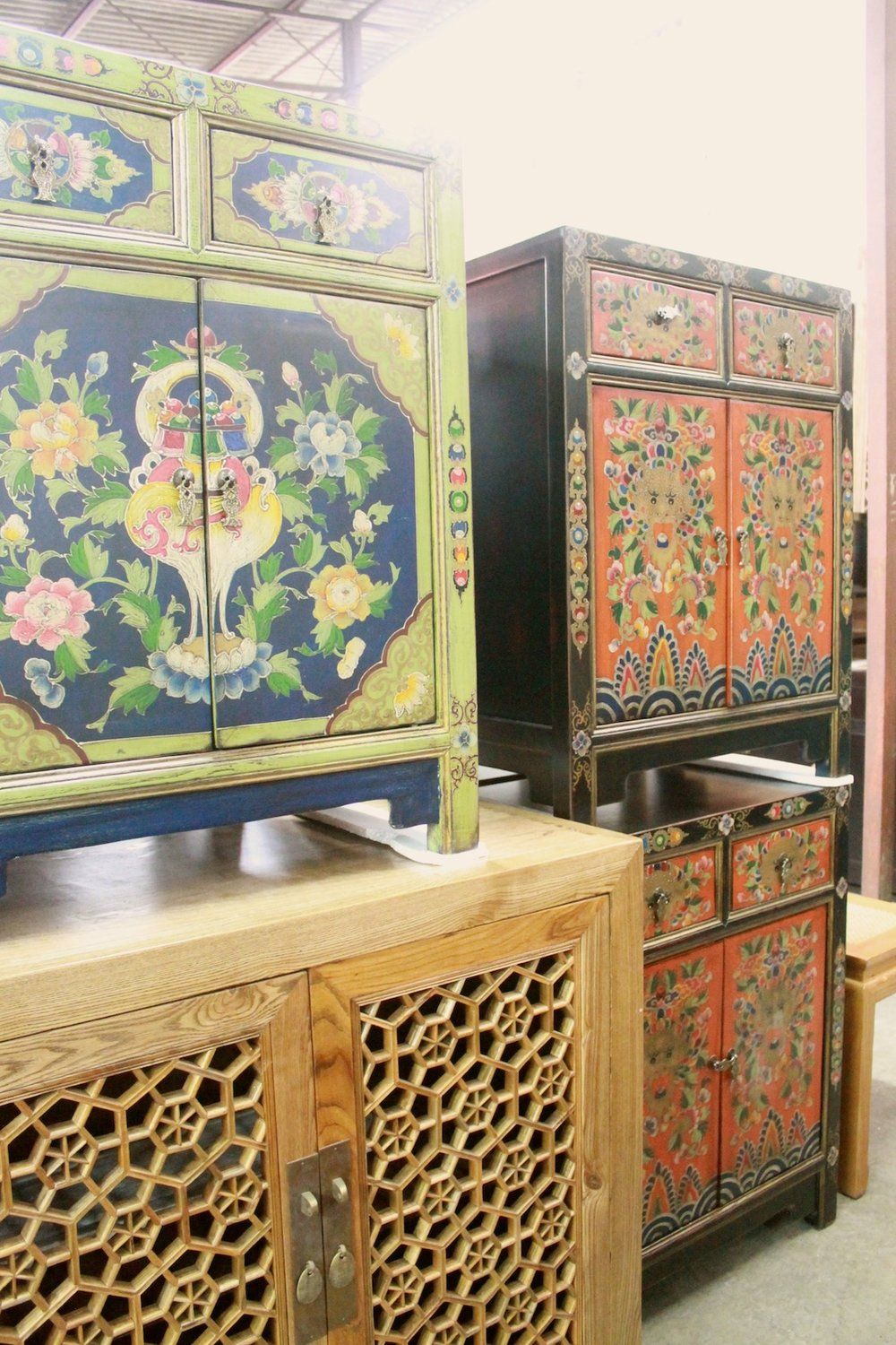 Hand-painted Tibetan-style side cabinets
