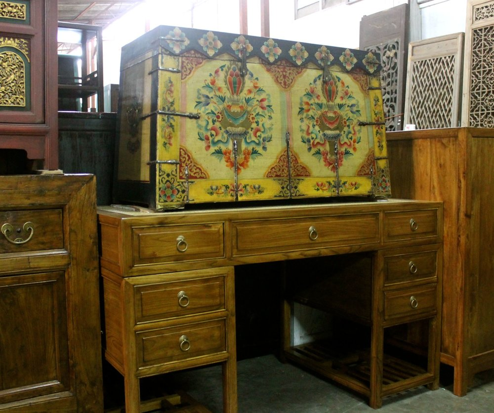 Top: hand-painted Tibetan-style chest. Bottom: Elm wood 3-part writing desk