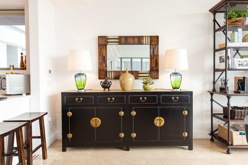 Modern Chinese sideboard in Dining room. Styling & photo courtesy of Arete Culture