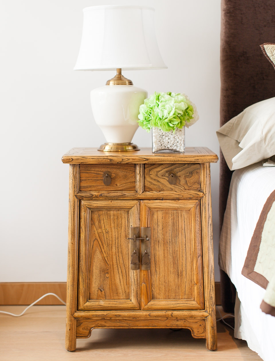 Weathered Elm bedside table. Styling & photo courtesy of Arete Culture