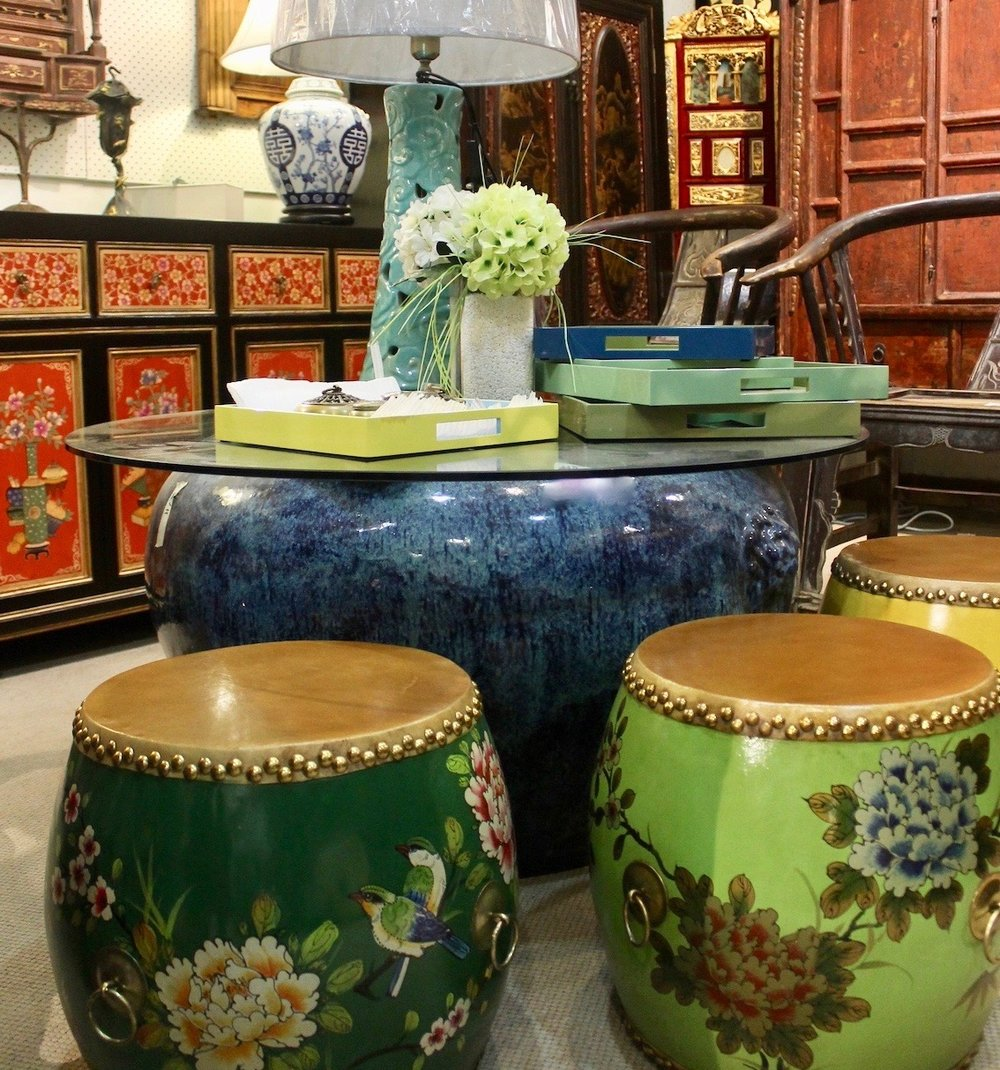 Ceramic table lamps, wooden painted drums, lacquer trays!