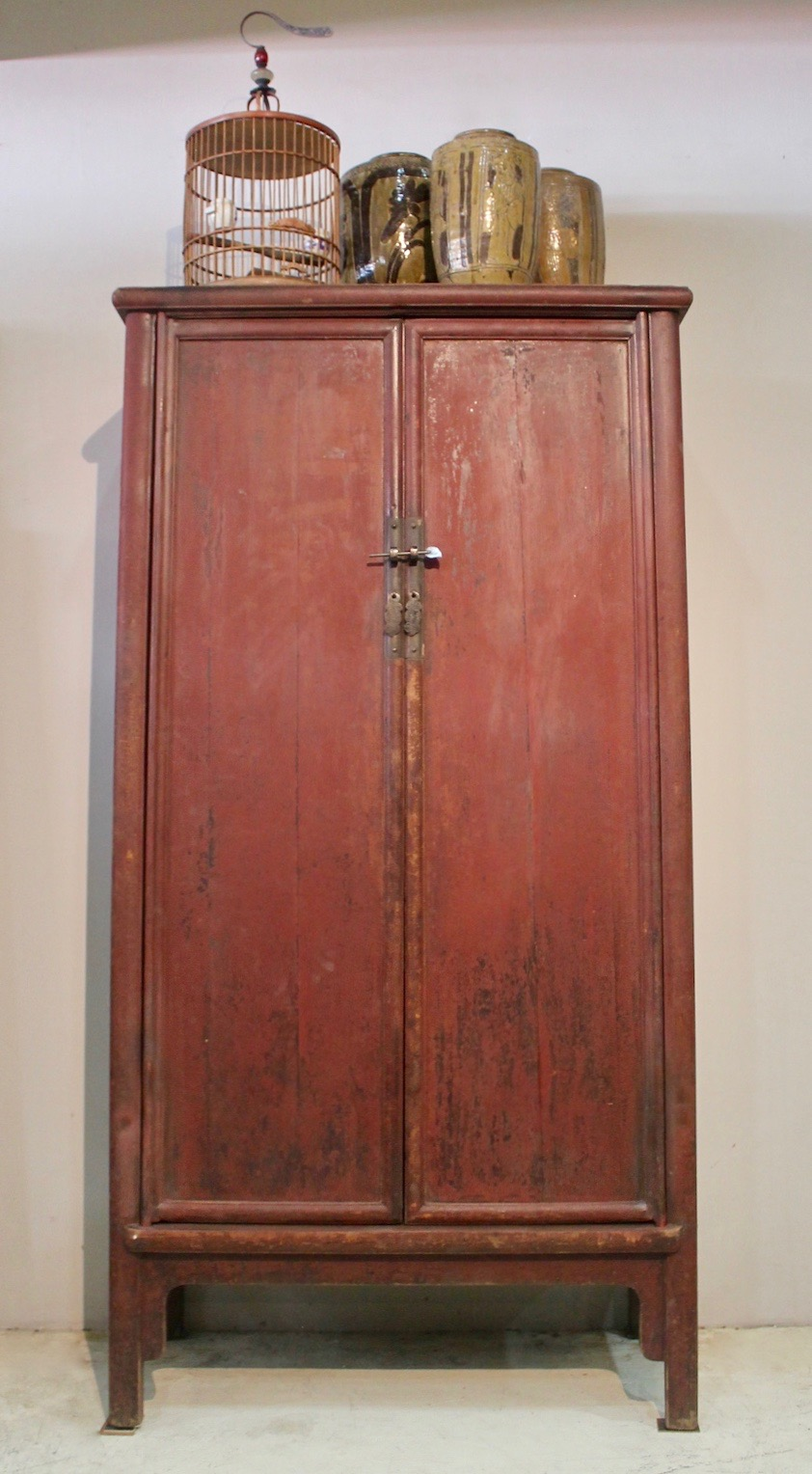 Antique tall red cabinet (original colour) from Zhejiang, China