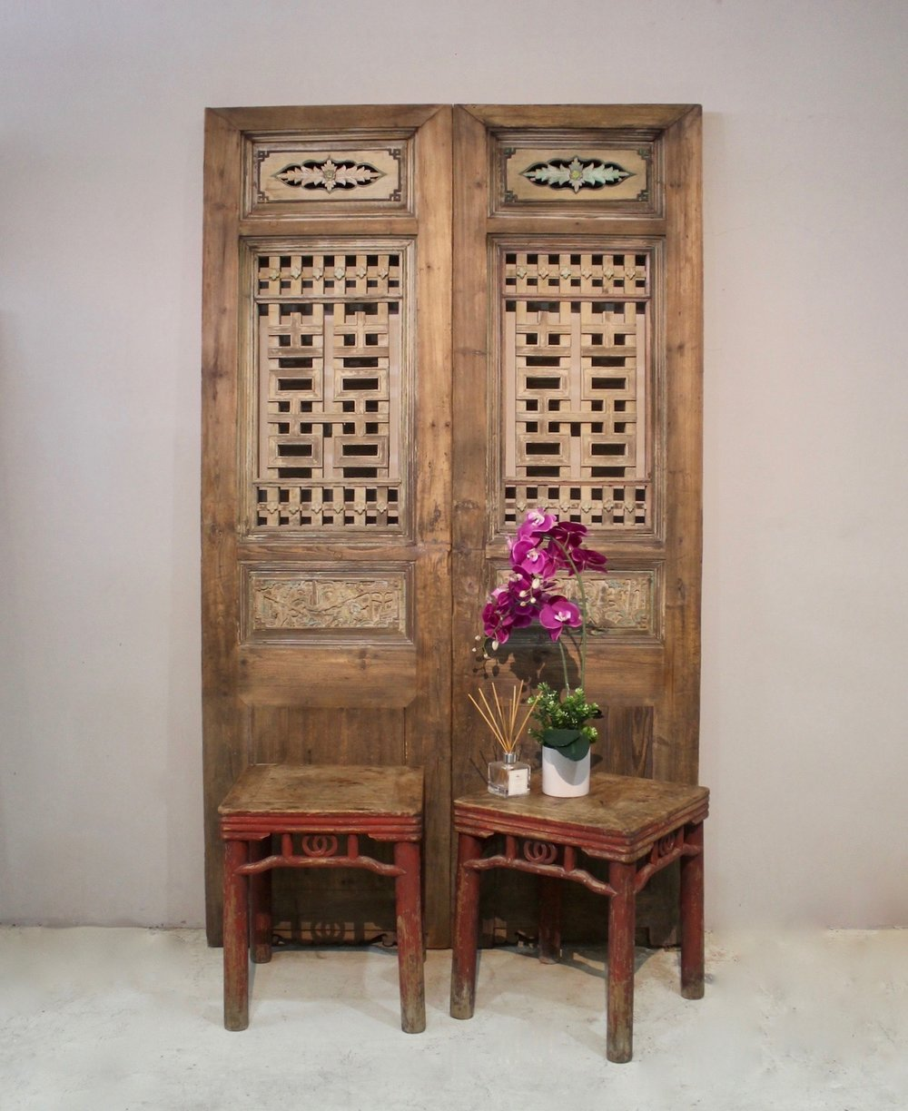 Antique door panels with double happiness from Fujian; and stools in very original condition, from Zhejiang.