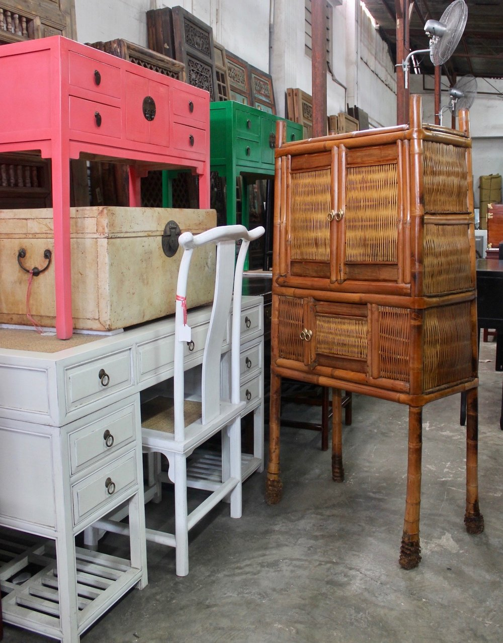 Left: colourful tables (repro); right: vintage Bamboo cabinet from Southern China