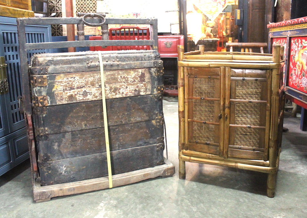 Antique dowry chest and vintage bamboo cabinet