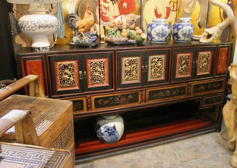 Long slim sideboard with carving from Fujian